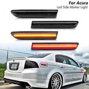 4x Smoked LED Front+Rear Side Marker Light Amber Red Lamp For 2004-2008 Acura TL
