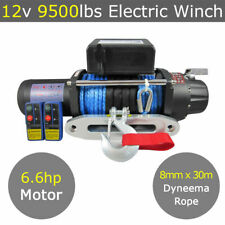 12V 9500lbs Electric Winch 8mm 30m Dyneema Synthetic Rope 4X4 9000lbs 12000lbs