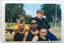Vintage PHOTO 3 Boys Sitting In A Park Bench With Their Uncle