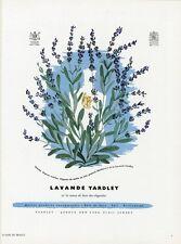 """""""LAVANDE YARDLEY"""" Annonce originale entoilée PLAISIR DE FRANCE 1951 BRAVURA"""