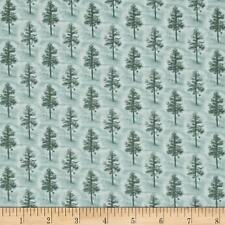 Fabric Pine Trees at Misty Dawn Teals Tonal on Cotton 1 yard S