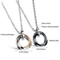 1X Titan Stahl Einzelner Diamant drei Ring Anhänger Halskette Paar Zubehör P6L8