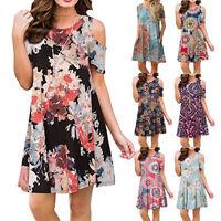 Womens Summer Off Shoulder A Line Floral Tunic Dress Casual Midi Beach Sundress
