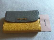 Miu Miu Wallet Madras Bicolore Mustard/Gray Nwt $515