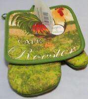 Better Home Kitchen 2 Piece Set Pot holder & Oven Mitt Set Rooster Green