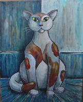 UNKNOWN FOUND OBJECT oil painting 16x20 canvas CAT PET original signed CROWELL