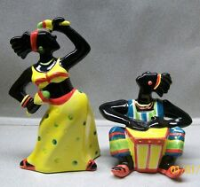 CLAY ART BLACK AMERICANA CALYPSO DANCERS SALT & PEPPER SHAKERS VI AH 1E 316