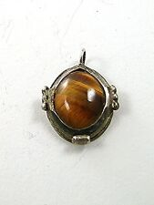 Small Vintage Southwest Style Coin Silver (900) & Tiger Eye Pendant 11817