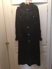 Women Long Shearling Lamb Sheepskin Coat Black Color