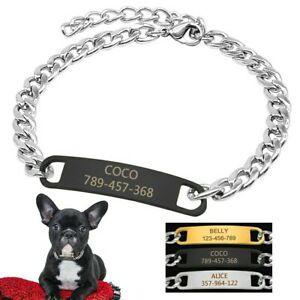 Dog Chain Necklace Personalized Small Pet Choker with Custom Tags Free Engraving