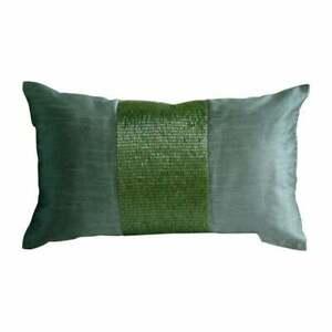 Green Metallic Beaded 20x26 inch Silk Standard Oblong Pillow Shams-Green Center