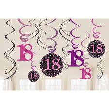 12 X 18TH BIRTHDAY PARTY HANGING SWIRLS PINK BLACK CELEBRATION DECORATION AGE 18