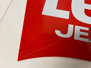 """Vintage Levis Jeanswear Advertising Store Sign 90s Transparent Sign 25"""" X 12"""""""