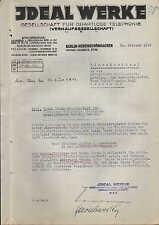 BERLIN-HOHENSCHÖNHAUSEN, Brief 1933, IDEAL-WERKE Ges. f. drahtlose Telefonie mbH