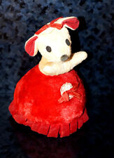1970s Vintage BANTAM MUSICAL Wind Up PLUSH Mouse Girl Red Dress Stuffed Animal