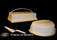 Tupperware Tuscany GOLD Rectangle 9X13 Cake Cupcake ~Round Pie Taker ~2 Handles