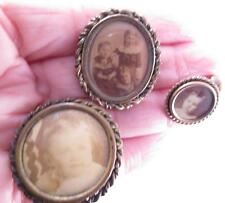 3 PC LOT OF GF VICTORIAN MOURNING JEWELRY CHILDREN SEPIA PHOTOS