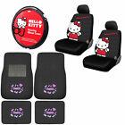 New Set Sanrio Hello Kitty Car Truck Floor Mats Steering Wheel Cover Seat Covers