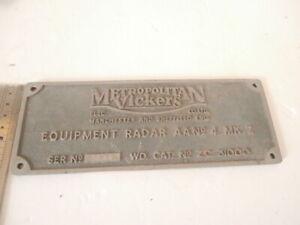 RARE 1950's METROPOLITAN VICKERS Anti Aircraft Radar Plate AA No4 MK7 Militaria