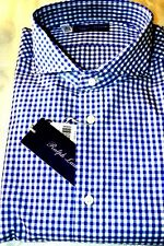 $395NWOT PURPLE LABEL RALPH LAUREN 17.5 L BLUE gingham Keaton cotton dress shirt