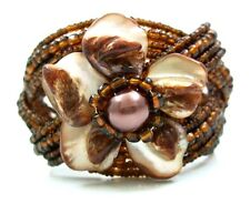 """2"""" Brown Flower Mother of Pearl Beads Cuff Bracelet 6""""-8"""" Adjustable ;FA067"""