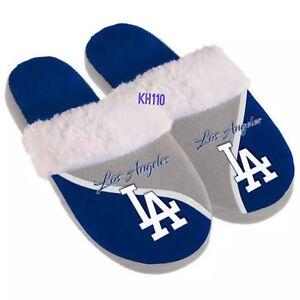 MLB Los Angeles Dodgers Women's Cursive Color block Slippers