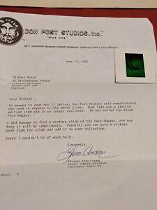 Alien Movie Don Post Studio.Letter Nd photo slide of face hugger rare limited.