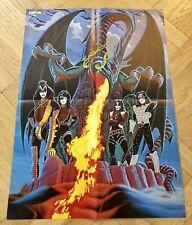 KISS 1979 Cartoon Dragon Swedish Poster Magazine 1970s Rare Vintage