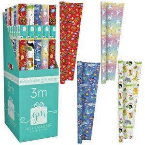 12m (4 x 3m) Gift Wrapping Paper Roll Kids Unisex Birthday Unicorns Lions Sea