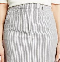 M&S Ladies Skirt Blue Striped Seersucker Aline Cotton Chino BNWT Marks PerUna