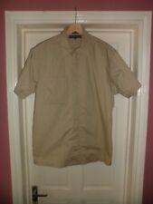 Mens Tommy Hilfiger Beige Zip Front Short Sleeve Shirt Size Medium