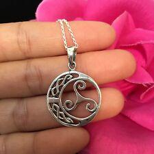 Spiral Celtic Knot Sterling Silver Pendant -Pretty Celtic Spiral Pendant