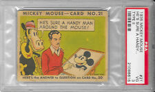 1935 Type II MICKEY MOUSE GUM CARD #21 WALT DISNEY He's Sure A Handy PSA Graded