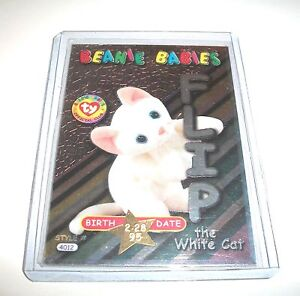 Ty S3 RARE 287 SILVER FLIP THE WHITE CAT BIRTHDAY CARD INSERT ONLY #35