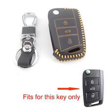 3BT PU Leather Remote Key Chain Fob Holder Case Cover For VW Golf 7 2014 GTI MK7