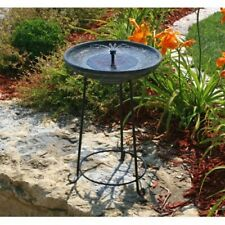 Smart Solar Garden Bird Bath With Fountain Gray New
