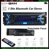 1 Din Car Radio RDS+AM FM Bluetooth MP3 Player Detachable Panel In-Dash Stereo