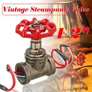 Industrial Steampunk 1/2'' Stop Valve Pipe Rotary Light Switch W/ Wire Pass  C