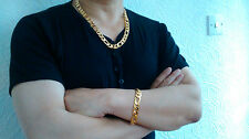"Figaro 24"" 18K Yellow Gold Filled Necklace & Bracelet Chain Gift Set Box Men's"
