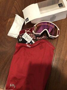 NEW Anon Burton Relapse Jr Ski Snow Goggles W/ MFI Mask Berry/ Pink Amber