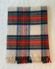 "Vintage Tasseled Wool Blanket Plaid 72""x52"""