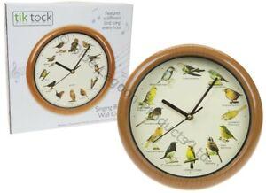 "10"" Singing Birds Wall Clock 12 Bird Sounds Hour Sleep Mode Battery Wildlife"
