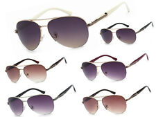 VG Eyewear Womens Retro Classic Metal Semi Rimless Aviator Sunglasses +Soft Bag