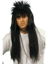 Deluxe Black Mullet Rock 70s 80s Punk Fancy Dress Wig Accessory