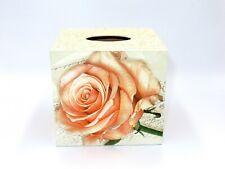 Handmade Wooden Tissue Holder, Square Tissue Box Cover , Floral Tissue Storage
