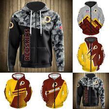 Washington Redskins Hoodie Men Casual Jacket Full Zip Hooded Football Sweatshirt