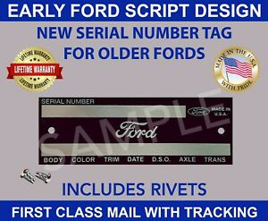 SERIAL VIN NUMBER FORD TAG DOOR FIREWALL DATA PLATE VEHICLE ID IDENTIFICATION