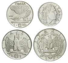 ITALIA Lotto 4 monete da 20 50 Centesimi 1 2 Lire 1939 XVIII Magnetiche. Ottime