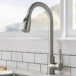 Brushed Nickel Swivel Pull Out Spray Kitchen Mixer Tap Laundry Sink Basin Faucet