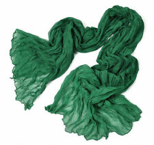 Lovely Women's Candy Long Crinkle Soft Scarf Wrap Voile Wraps Shawl Green SHOP98
